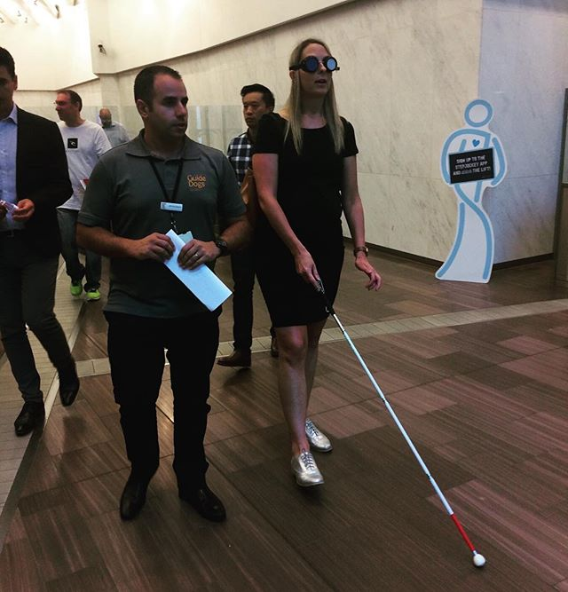 We recently participated in PTV's 'Travelling in the Shoes of Others' accessibility training which aims to raise awareness of the difficulties some people face accessing our public transport network. 🚊⠀ Here's Cara using a walking cane to assist her while wearing vision limiting goggles 🕶⠀ We love learning more about what we can do to make public transport in Victoria accessible to all!🏼⠀ ~~~~~~~⠀