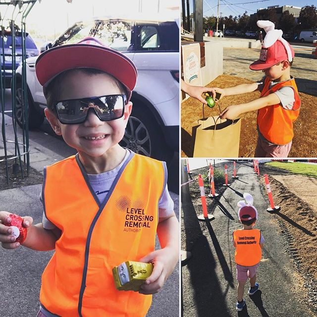 Happy Easter everyone!! One of our junior team members was excited to see the Easter Bunny  visit one of our projects this week 😎 @levelcrossings